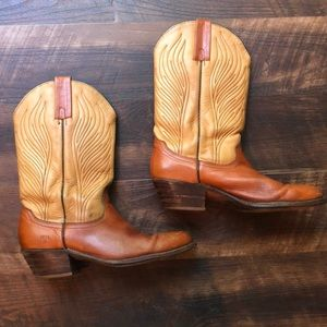 Vintage Men's Frye Cowboy Boots Tan/Brown